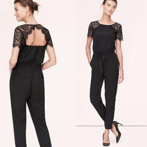 53d87e0d0a8c LOFT Pants - Ann Taylor Loft lace sleeve black jumpsuit size 0